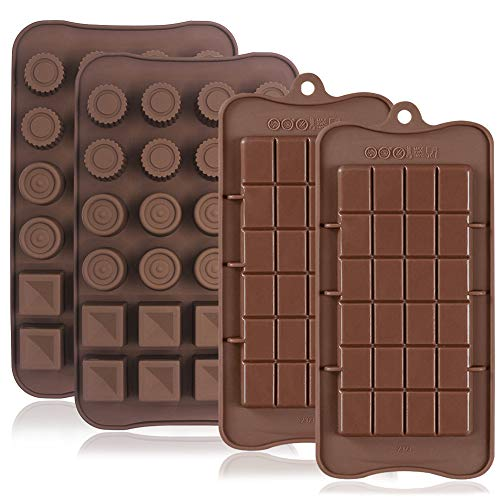 4 Pcs Silicone Chocolate Molds, Non-Stick Break-Apart Protein and Energy Bar, Ice Cube Tray Candy Mold Kitchen Baking Mould ()