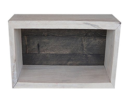 Wood/Wooden Shadow Box Display With Backing - 9'' x 6'' - Two Tone - Antique White/Carbon Grey - Rustic Decorative Reclaimed Distressed Vintage Appeal