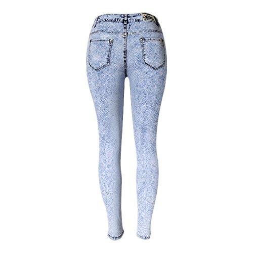 de XL pour Femmes Crayon Taille Flocon Neige Isbxn Pantalon Pieds Blue Size Pantalon en Haute Blue Pieds Color Denim q8Twx1pIS