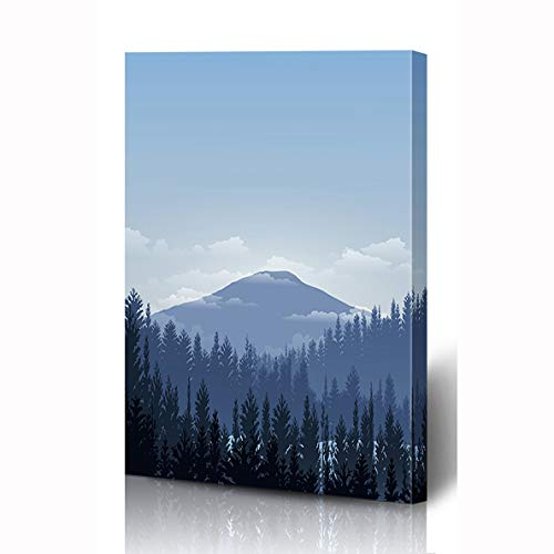 - Ahawoso Canvas Prints Wall Art 12x16 Inches Park Blue Winter View Sunset Sunrise Mountain Snow Nature Forest Alpine Sky Trail Ski Wooden Frame Printing Home Living Room Office Bedroom
