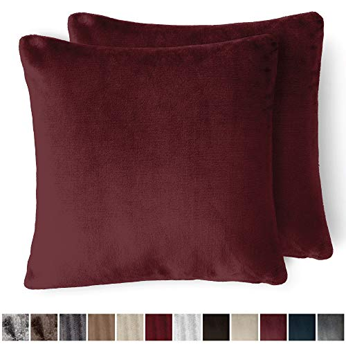 The Connecticut Home Company Original Velvet Pillowcases, Set of 2 Solid Decorative Case Sets, Throw Pillow Covers, Luxury Soft Cases for Bedroom, Living Room, Sofa, Couch & Bed (18x18 inch, Merlot) -
