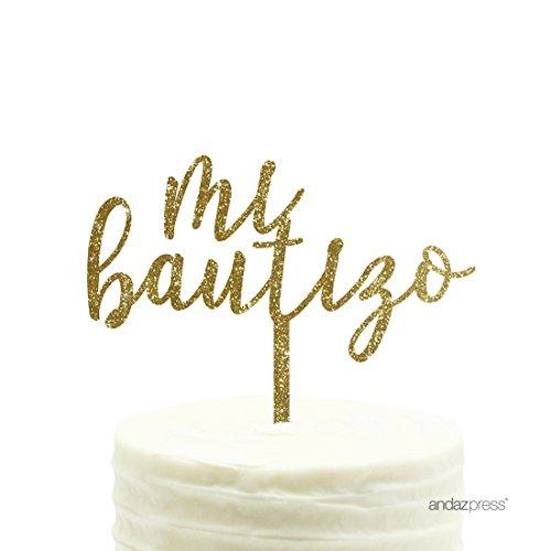 Andaz Press Baby Baptism Acrylic Cake Toppers, Gold Glitter, Mi Bautizo, 1-Pack