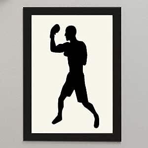 إطار صورة مع لوحة فنية ملاكم ملاكمة مطبوعة على ورق للتثبيت الجداري أو الرف أوالمكتب