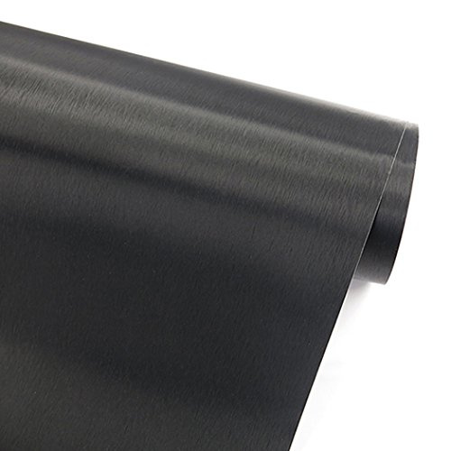 - Faux Black Brushed Metal Stainless Steel Contact Paper Self Adhesive Vinyl Shelf Drawer Liner for Refrigerators Dishwashers Appliance Etc (19.6