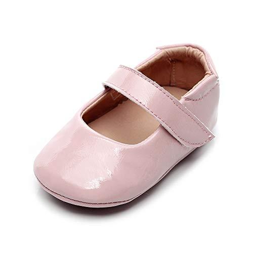 Isbasic Baby Girls Mary Jane Shoes Toddler Soft Sole Anti-Slip Princess Baptism Crib Dress Shoes (6-12 Months, XH0266-pink)
