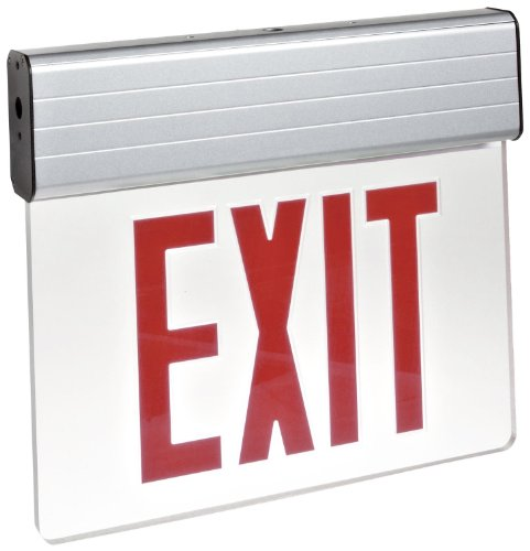 Morris Products 73310 Surface Mount Edge Lit LED Exit Sign, Red on Clear Panel Color, Anodized Aluminum Housing - Edge Lit Led Exit Sign