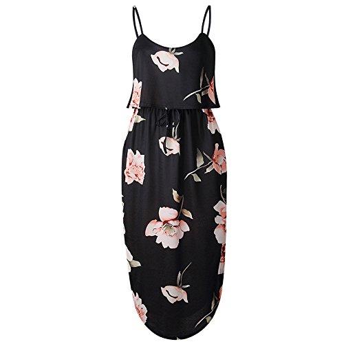 XINGMU Estampados Florales Vestidos De Verano Vestidos De Mujer De Amarre Correa Irregulares En La Playa 8
