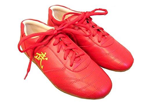 悪性気付くモッキンバード中国武術 太極拳 靴 赤 カンフー 気功 牛革 レザー 靴 男性 女性 太極拳 スニーカー