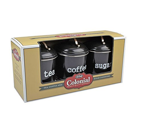 D.line Colonial Set of 3 Canisters 1 Litre Black - Coffee, Tea, Sugar Colonial Coffee Pot