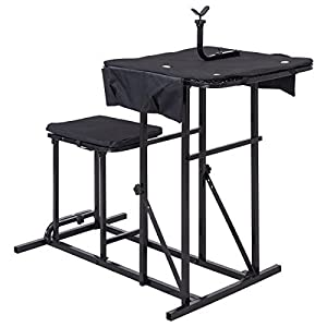 BUY JOY Folding Shooting Bench Seat with Adjustable Table Gun Rest Height Adjustable