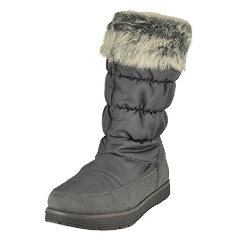 Skechers Women's Adorbs-Nylon Quilted Snow Boot,Charcoal,9 M US ()