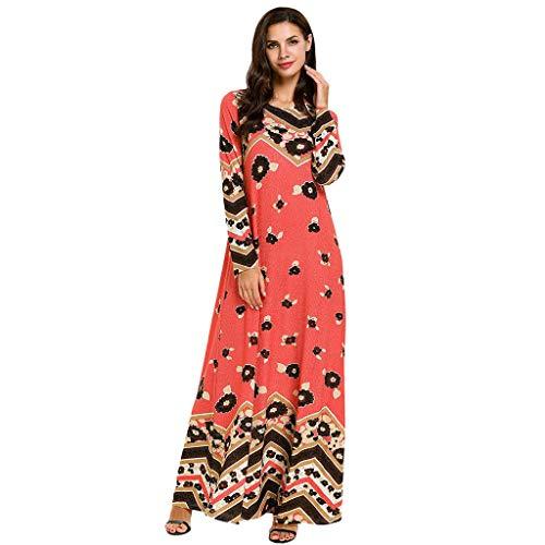 Leisuraly 2019 New! Womens Long Dress,Muslim Islamic Printed Long-Sleeved Loose Swing Dresses Fashion Boutique Kaftan Robes
