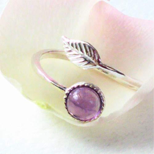 Adjustable Amethyst Ring with Leaf, Handmade Sterling Silver Ring, 6mm Amethyst