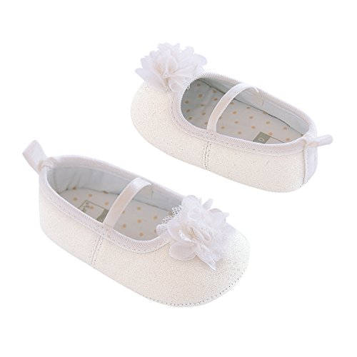 Carter's Girls' Baby Soft Sole Mary Jane Dress 0-3 Crib Shoe, White/Glitter Shimmer, 0-3 Months Regular US Infant (Shoes For Girls For Dress)