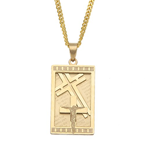 p Hop Gold Plated Dog Tag Crucifix Cross Pendant Necklace, 24