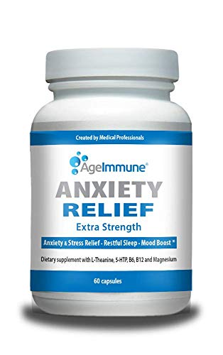 Anxiety Relief - Doctor Formulated Anxiety and Stress Relief Supplement Complex, Quality Sleep Support and Mood Boost Formula with L-Theanine, 5-HTP, Vitamins B6, B12 and Magnesium. 60 Capsules.
