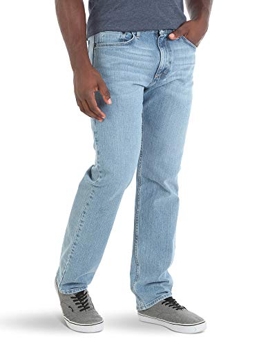 Cotton 5 Pocket Jean - Wrangler Authentics Men's Classic Relaxed Fit Flex Jean, Stonewash, 35W x 32L