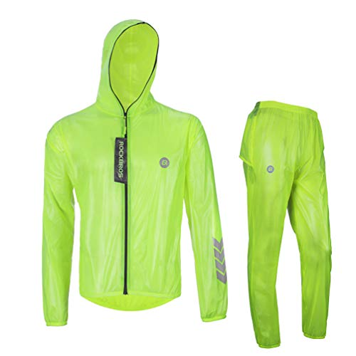 Bicycle Rain Gear - Rockbros High Visibility Cycling Rain Jacket Men's Windproof Rain Coat Motocycle Raincoat Green