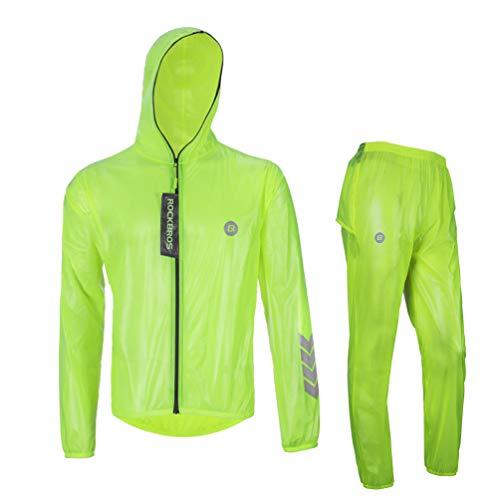 High Performance Raincoat - Rockbros High Visibility Cycling Rain Jacket Men's Windproof Rain Coat Motocycle Raincoat Green