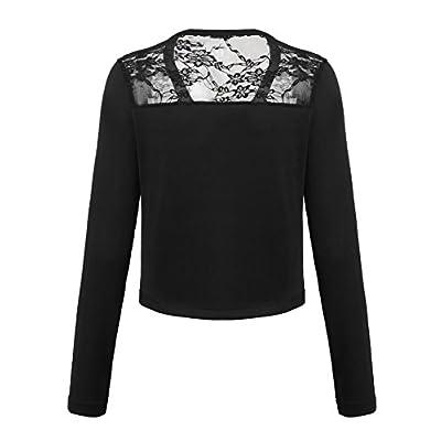 Grabsa Women's Long Sleeve Bolero Shrug Lace Cropped Open Front Cardigan Blazer at Women's Clothing store
