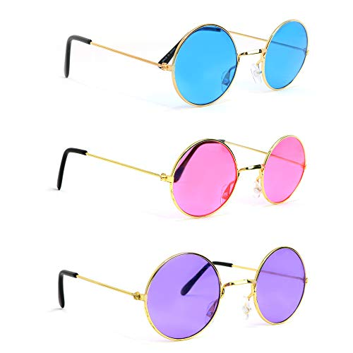 Skeleteen John Lennon Hippie Sunglasses - Pink Purple and Blue 60's Style Circle Glasses - 3 Pairs -