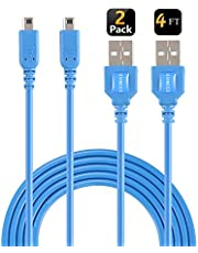 EXLENE 3ds Ladekabel (2 Pack),Nintendo 3ds Ladegerät USB Ladekabel für Nintendo 3DS/New 3DS XL/2DS/New 2DS XL LL/DSi/DSi XL (Blau,1.2m/4ft)