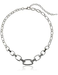 """Napier """"Textured Link"""" Silver-Tone 16"""" Collar Necklace"""