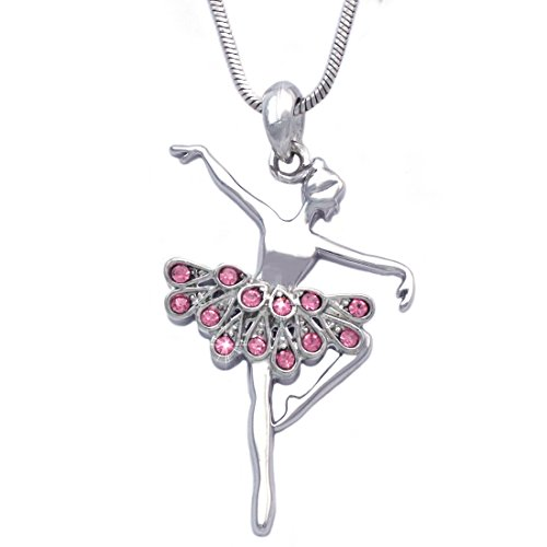 - cocojewelry Ballerina Ballet Dancer Passe Relever Pose Pendant Necklace Gift Box (Passe Pink)