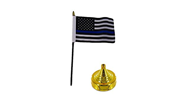 """USA Thin Police Blue /& Fire Red Line 4/""""x6/"""" Flag Desk Set Table Stick Gold Base"""