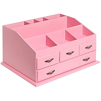 Shabby Chic Pink Wood 8 Trays 4 Storage Drawers Jewelry/Makeup/Cosmetics Organizer Display Rack - Classic and timeless deluxe wood jewelry & cosmetics organizer looks great on the dresser, vanity table, or bathroom counter. 8 trays of varying sizes for storing makeup and cosmetics like nail polish, brushes, eye shadow, blush, hairspray, perfume, and other favorite beauty products. Also includes 4 drawers for storing jewelry and other essentials such as earrings, bracelets, necklaces, and rings. - organizers, bathroom-accessories, bathroom - 41Lm6D92WkL. SS400  -