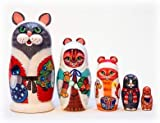 Christmas Cats Nesting Doll 5pc./5''