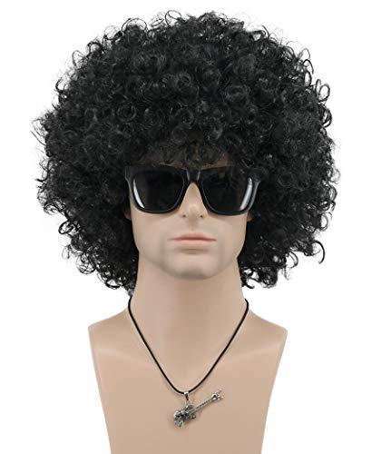 VGbeaty Mens Women Short Wave Colorful Rocker Afro Wig California Halloween Cosplay Anime Costume Wig (Black)