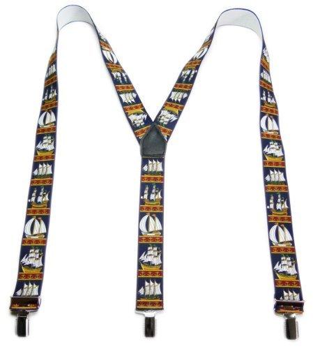 hosent rraeger Homme Femme hpsen bretelles Bleu foncé 2701Bateau de qualité Pantalon Seaside Support Deep Blue Ship Suspenders