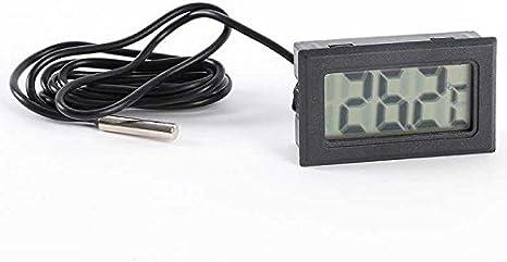 OcioDual Termometro Digital con Sonda Externa De Temperatura LCD para Acuario Congelador Negro