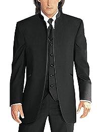 Men's 3 Pieces Suits for Wedding Pure White Collar Tuxedo Jacket Vest & Trousers