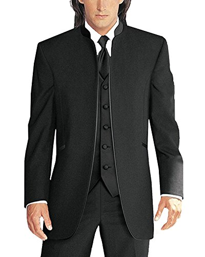 Lilis Men's 3 Pieces Wedding Suits Pure White Collar Three-Piece Tuxedo Suits (3 Button Black Wool Suit)