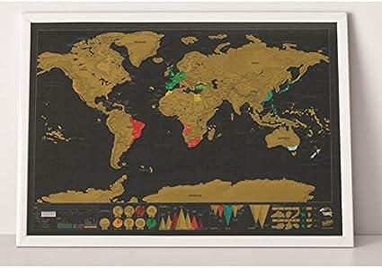 WillingBest - Póster de mapa del mundo para rascar (42 x 30 cm), diseño de mapa grande: Amazon.es: Oficina y papelería