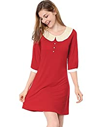 Allegra K Women Peter Pan Collar 3/4 Sleeve Casual Short Shift Dress