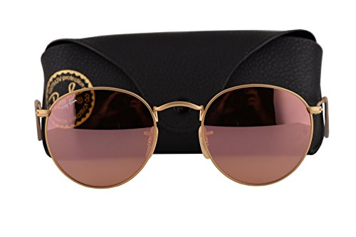 Ray Ban RB3447 Round Metal Sunglasses Matte Gold w/Brown Mirror Pink Lens 11222 RB - Ray Metal Mirror Ban Round Pink