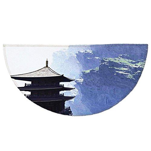 Cheap  Half Round Door Mat Entrance Rug Floor Mats,Home Decor,Zen Religious Temple with..