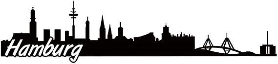 Samunshi Hamburg Skyline Aufkleber Sticker Autoaufkleber City Gedruckt In 7 Größen 15x3 4cm Schwarz Küche Haushalt