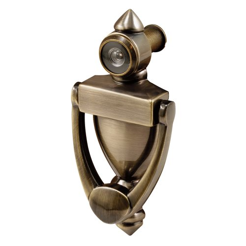 (Defender Security S 4235 Door Knocker & Viewer, Diecast Construction, Antique Brass Finish, 160 Degree View)