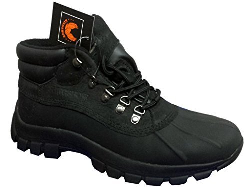 KINGSHOW Men Warm Waterproof Winter Snow Leather Boots Size:9.5 (Best Hdp Snow Boots For Men)