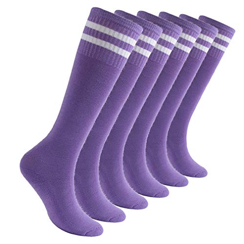 transla wonder Boys Girls Athletic Cotton School Soccer Football Basketball Knee High Socks, 6 Pairs, Purple