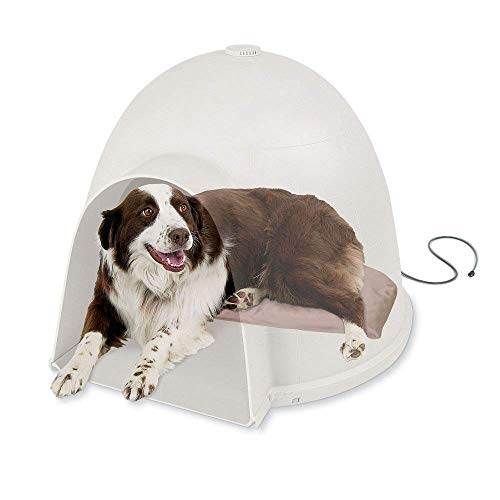 K&H PET PRODUCTS Lectro-Soft Igloo Style Dog Bed, Tan, 60W/Large/17.5″ x 30″