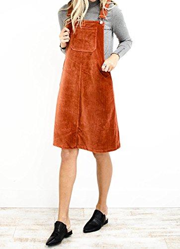 23160e9379 Yacooh Womens Corduroy Overall Dress Suspender Skirt Denim Bib Pinafore  Pocket