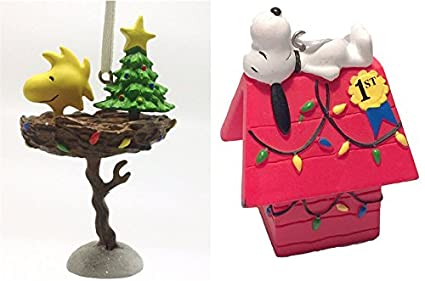 Snoopy And Woodstock Christmas Ornaments.2015 Hallmark Peanuts 50th Anniversary Christmas Ornaments Set Of 2 Snoopy Woodstock