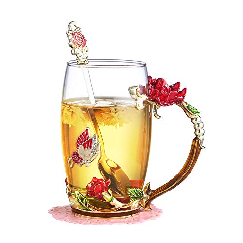 (RED MAISON Glass Mug with Spoon and Carry Handle, Elegant Flower Butterfly Glass Tea/Coffee Cup - Festival Gift Set for Women/Girl/Friends, 13.5 oz (Red Rose 400ml))