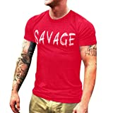 Men T-Shirt Short Sleeve Casual Fashion Shirt Letter Print Top Blouse (XL, Red)