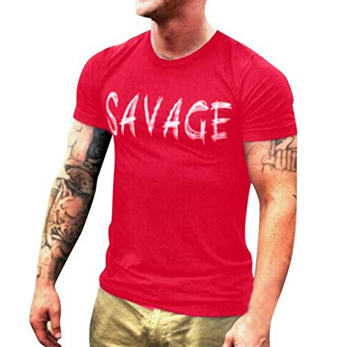 Lookatool T Shirt Men's T Shirt Tee Men's Printing Tees Casual Letter Fashion Shirt Short Sleeve T-Shirt Top Blouse L Red ()